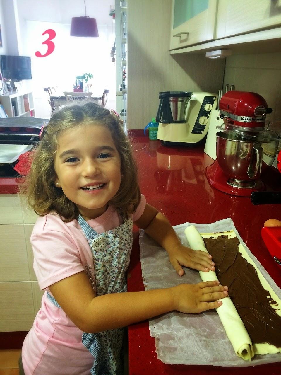 Espiral de hojaldre y chocolate